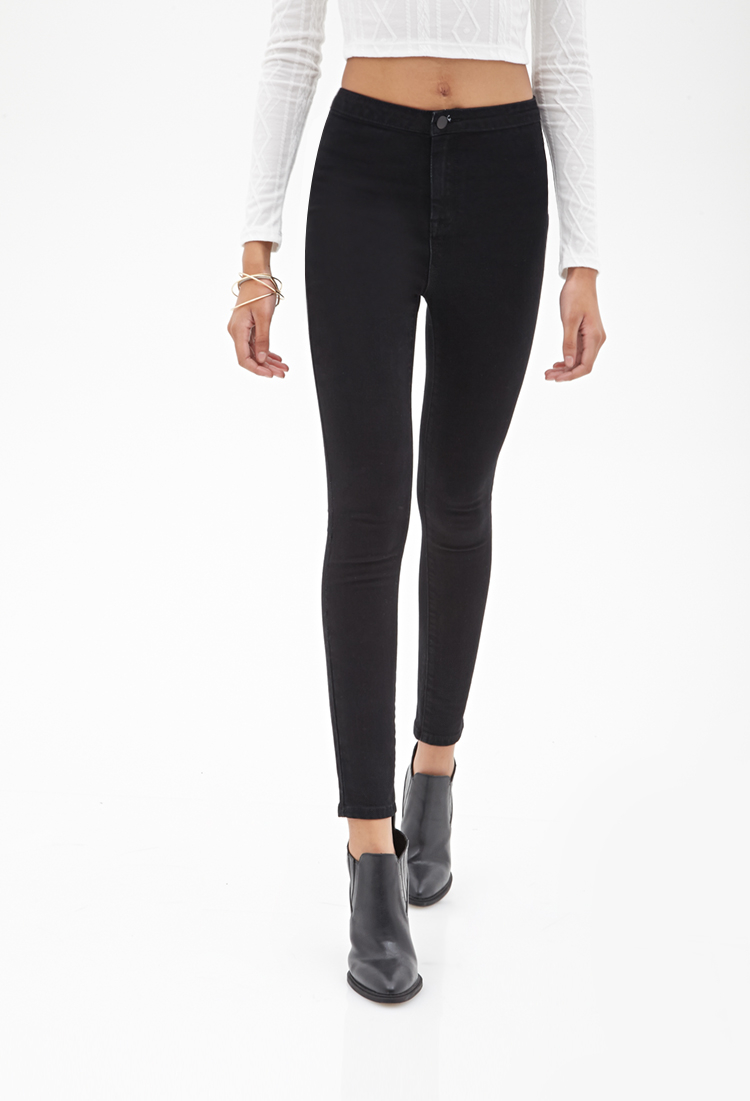 Forever 21 Highrise Skinny Jeans In Black Lyst