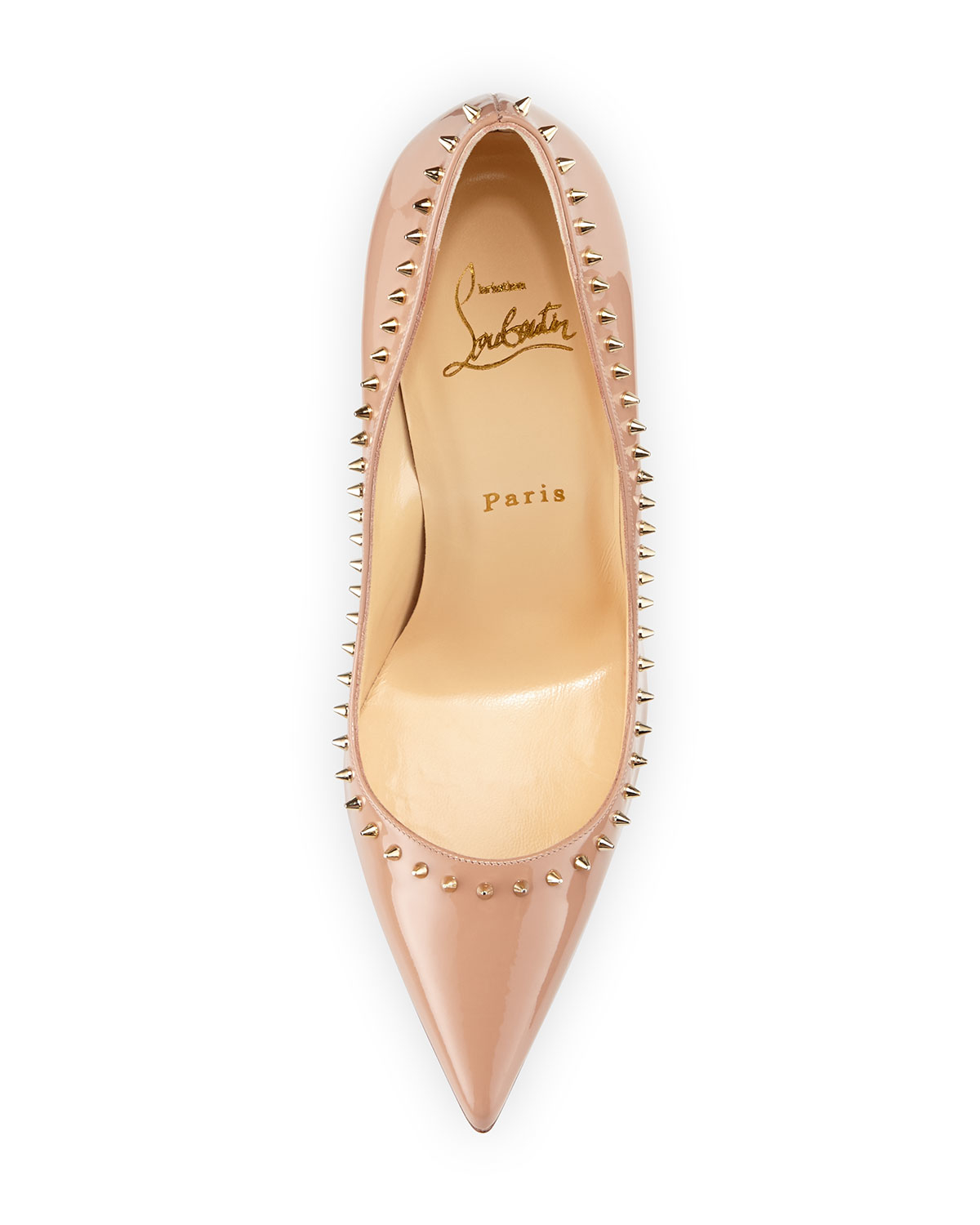 fake christian louboutin - Christian louboutin Anjalina Studded Patent Leather Pumps in Gold ...
