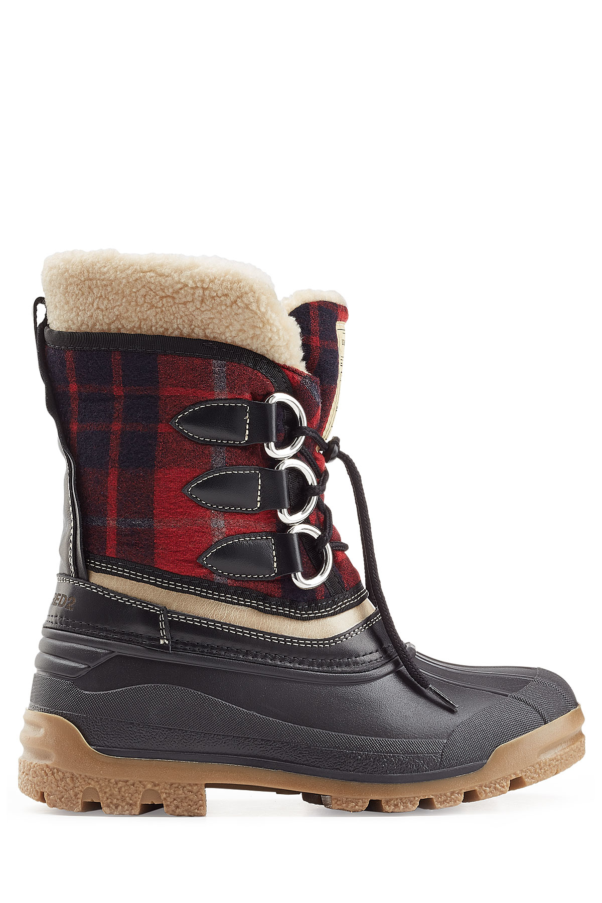 dsquared 178 leather and rubber boots multicolor in black