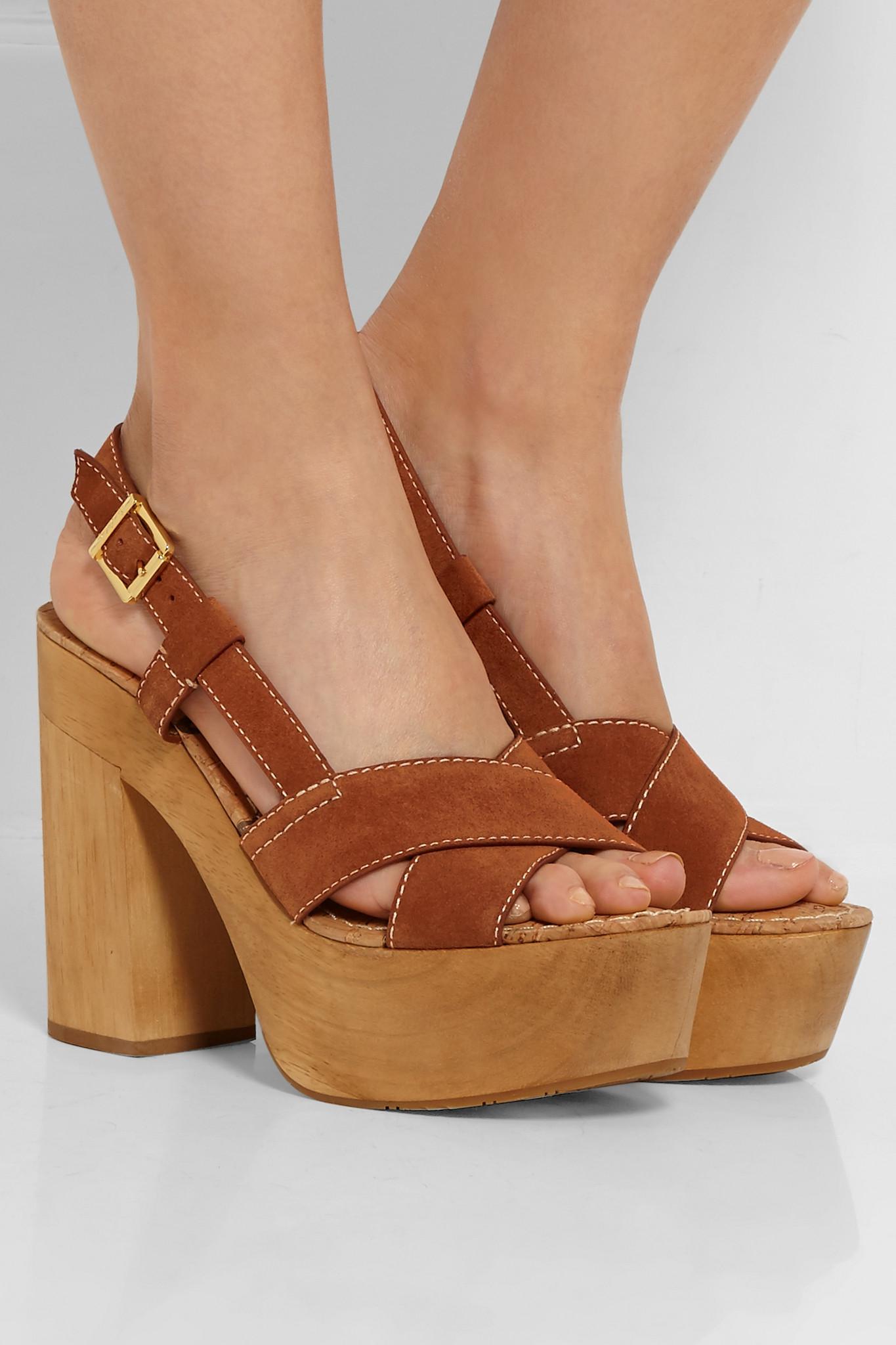 8346cf35123968 Lyst - Sam Edelman Mae Suede Platform Sandals in Brown