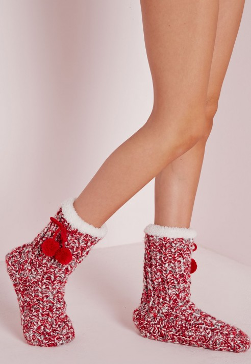 Missguided Chunky Knit Slipper Socks Red In Natural | Lyst