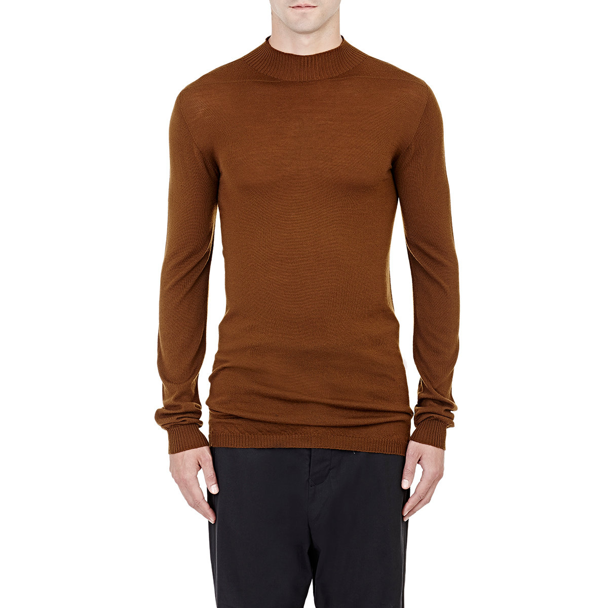 Rick owens Mock Turtleneck Sweater in Brown for Men | Lyst