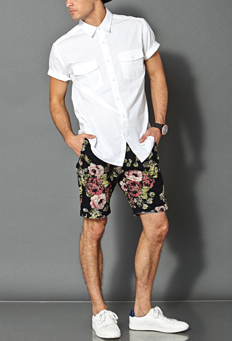 Forever 21 Floral Print Sweatshorts in Black for Men | Lyst