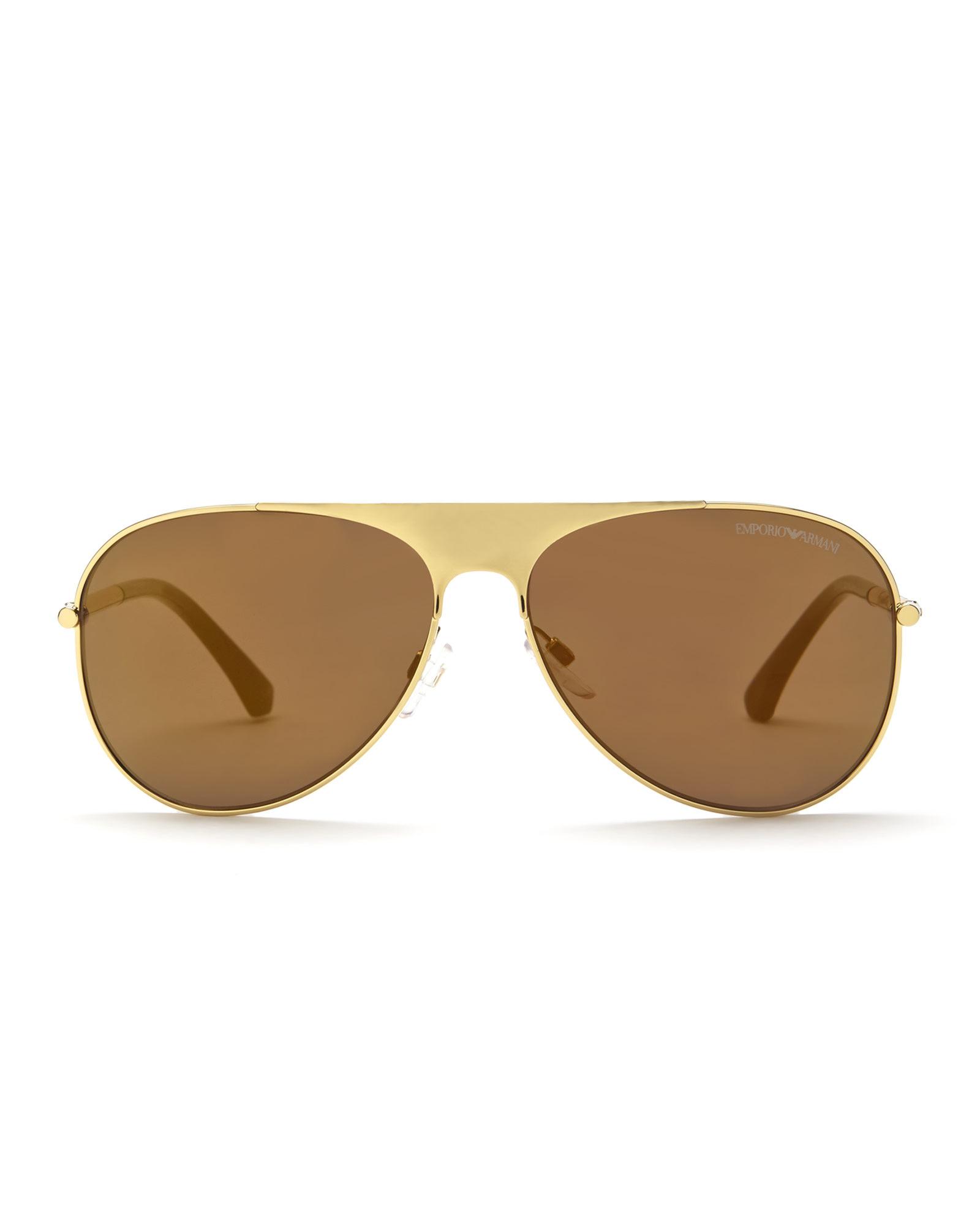 4871743ea82 Lyst - Emporio Armani Gold-Tone Ea2003 Aviator Sunglasses in Natural ...