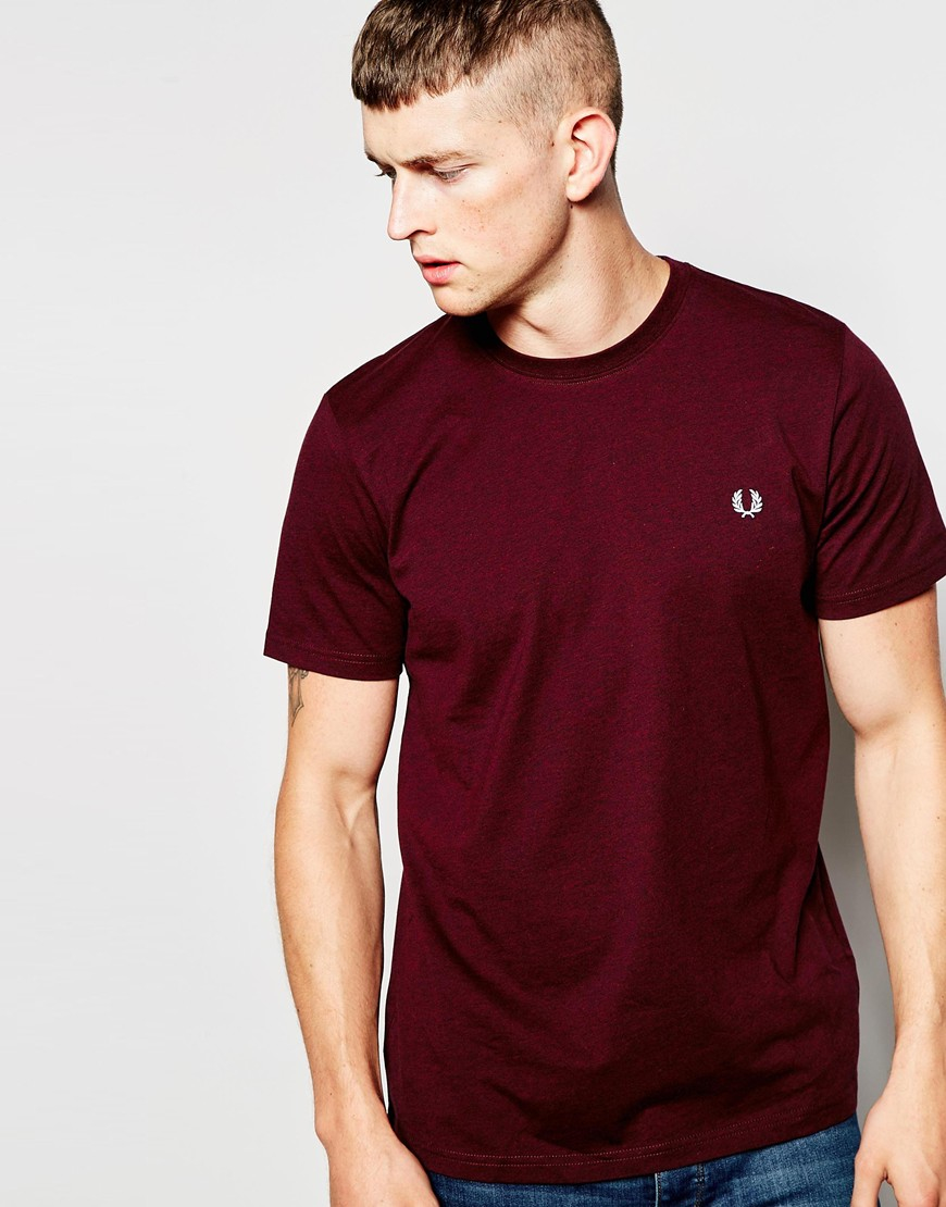 Fred Perry T Shirt In Crew Neck Mahogany In Purple For Men