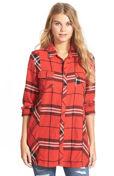 Volcom love me not plaid button front tunic in red red bld lyst