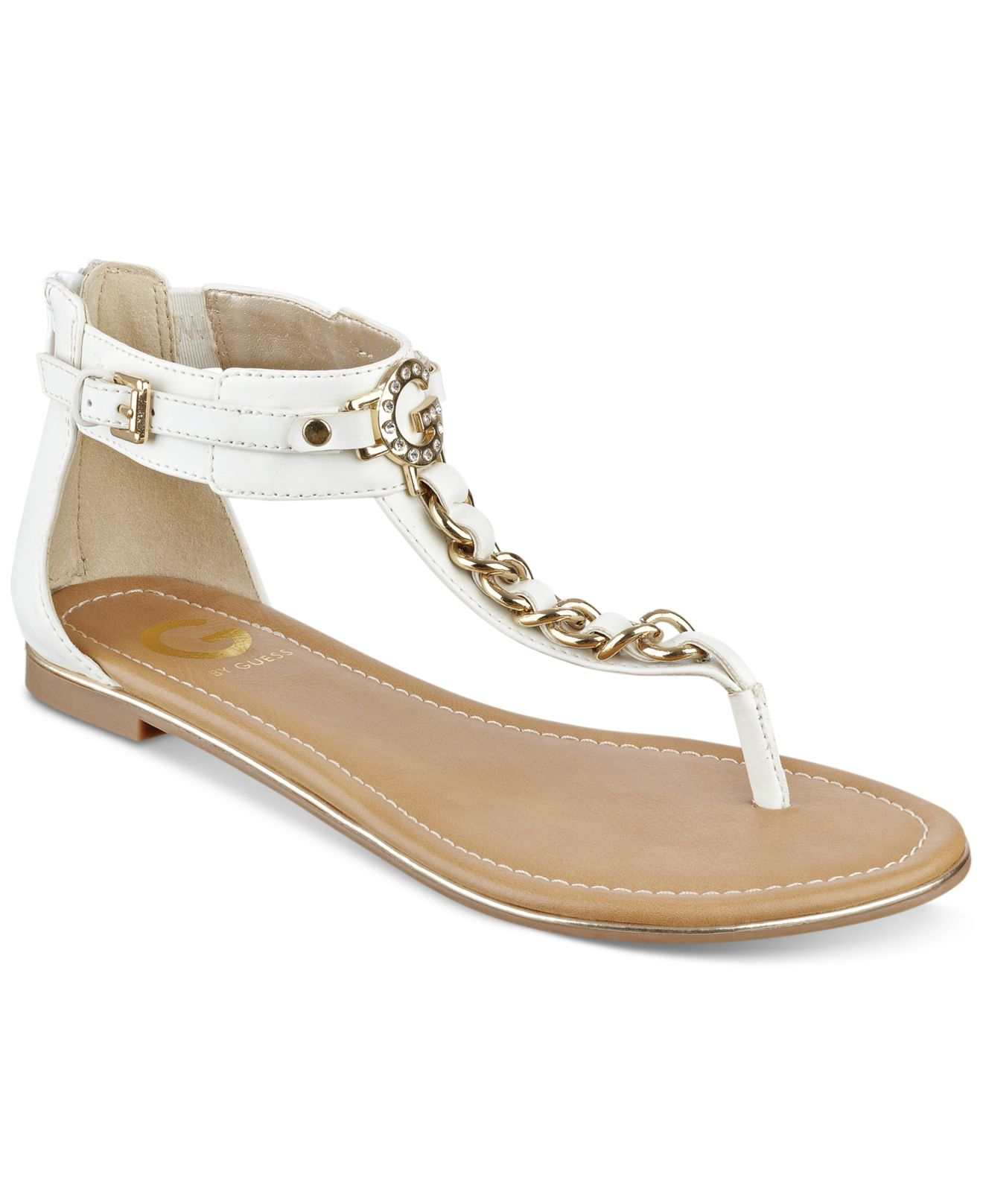 ca0e7ea9986657 Lyst - G by Guess Daniel T-strap Flat Sandals in White