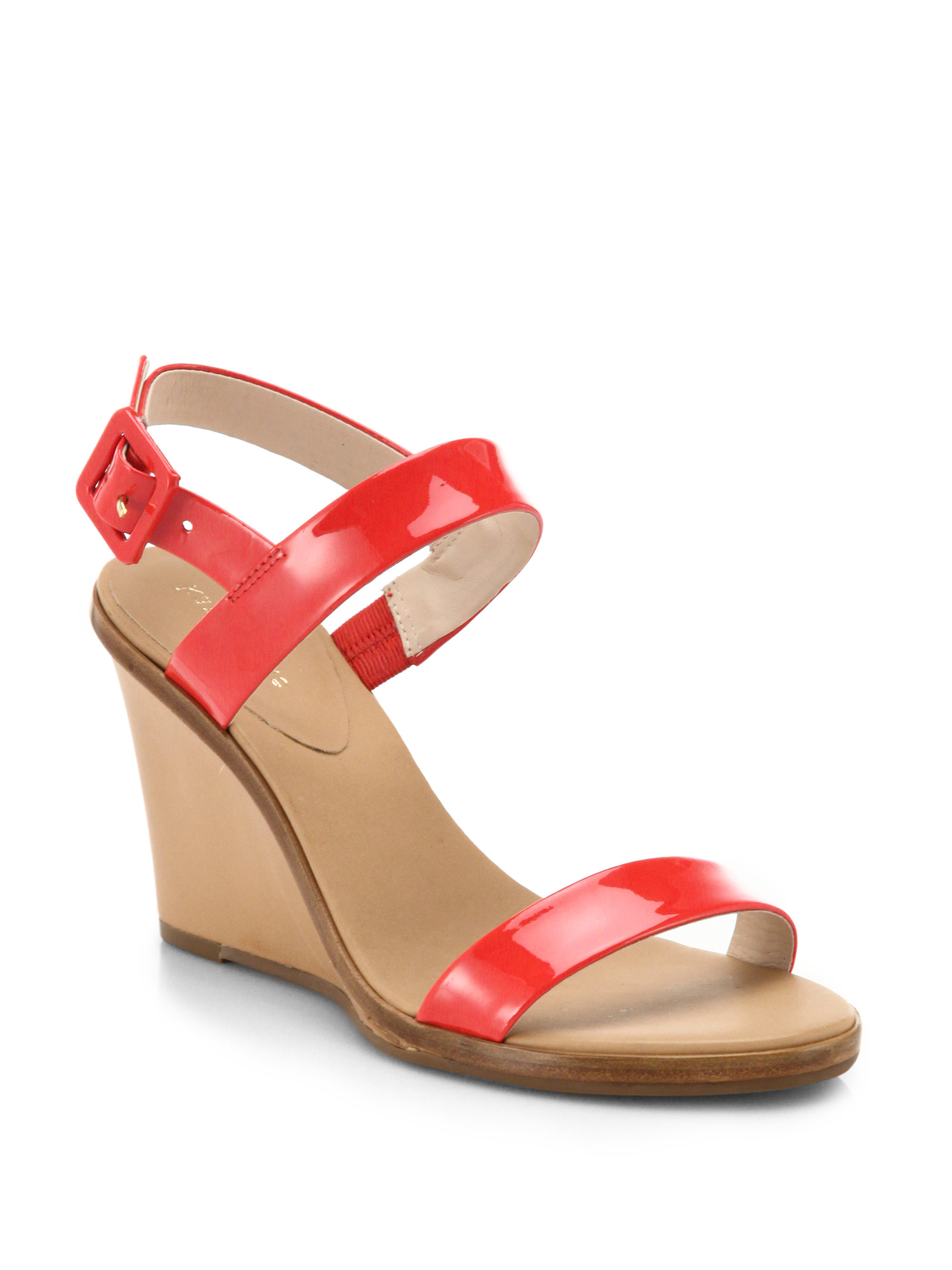 Lyst Kate Spade Patent Leather Nice Wedge Sandals In Red