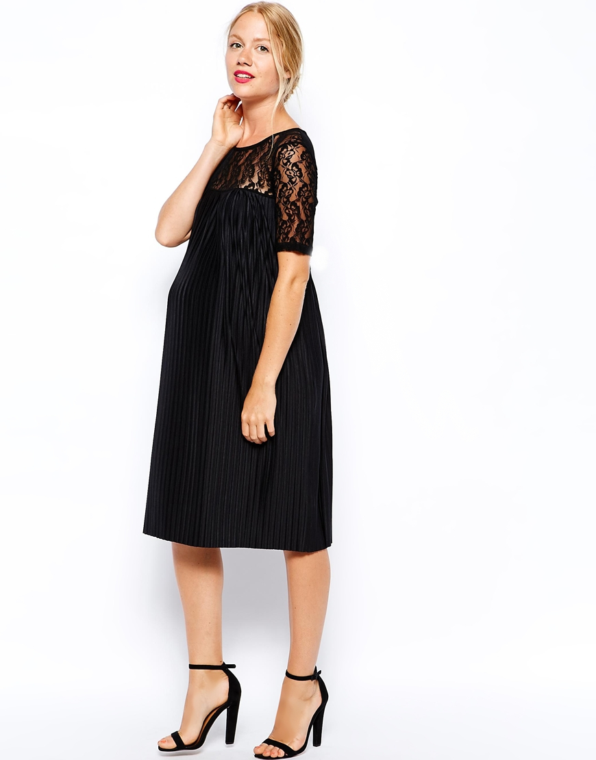 Asos exclusive pleated swing dress in lace in black lyst gallery womens swing dresses ombrellifo Gallery