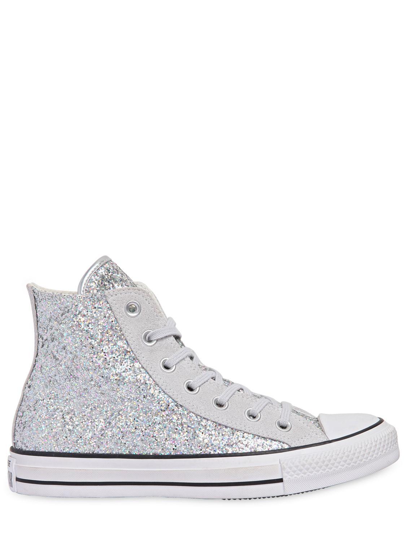0e924ba86921a6 Converse Chuck Taylor Glitter   Suede Sneakers in Metallic - Lyst