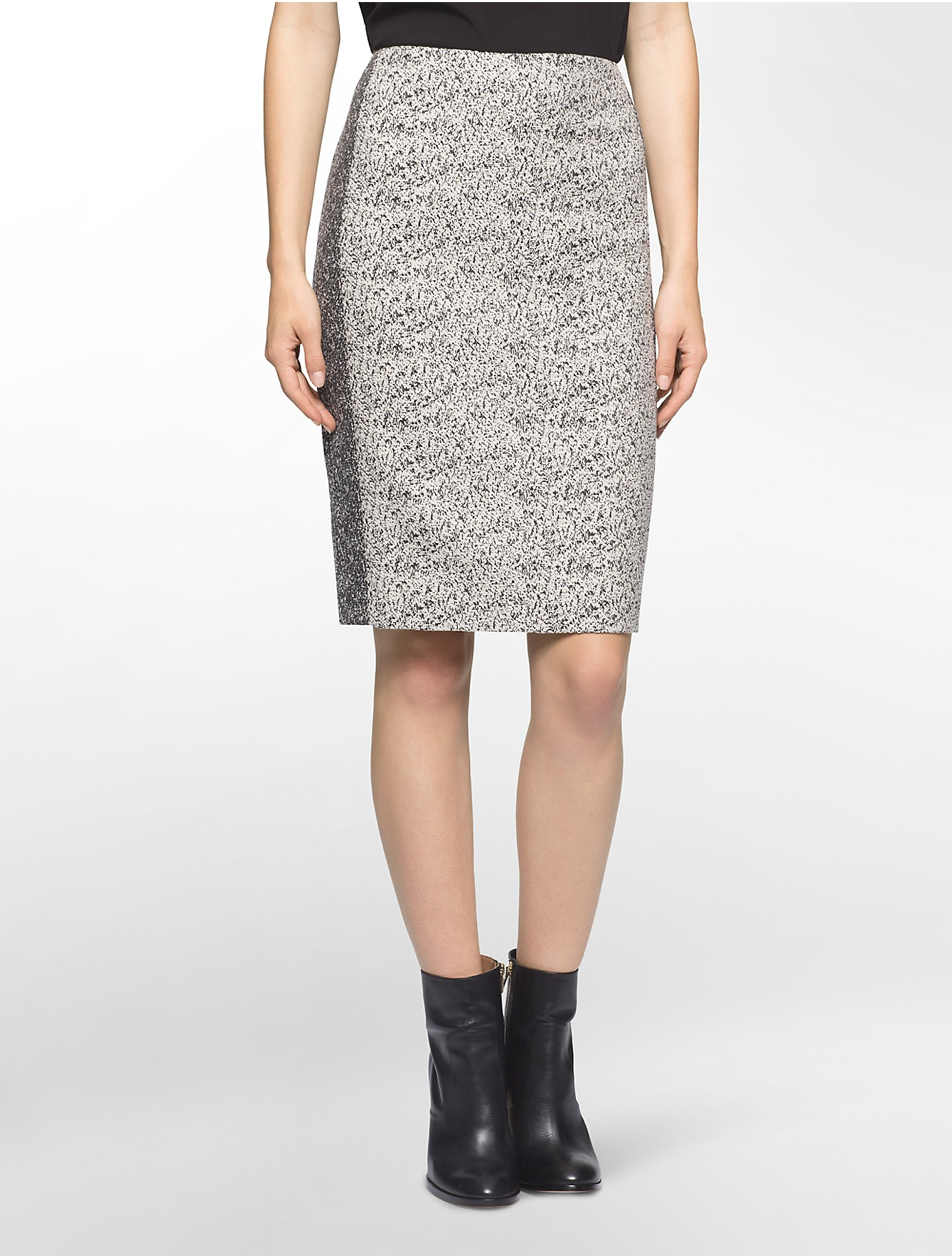 calvin klein black white pencil skirt in black lyst