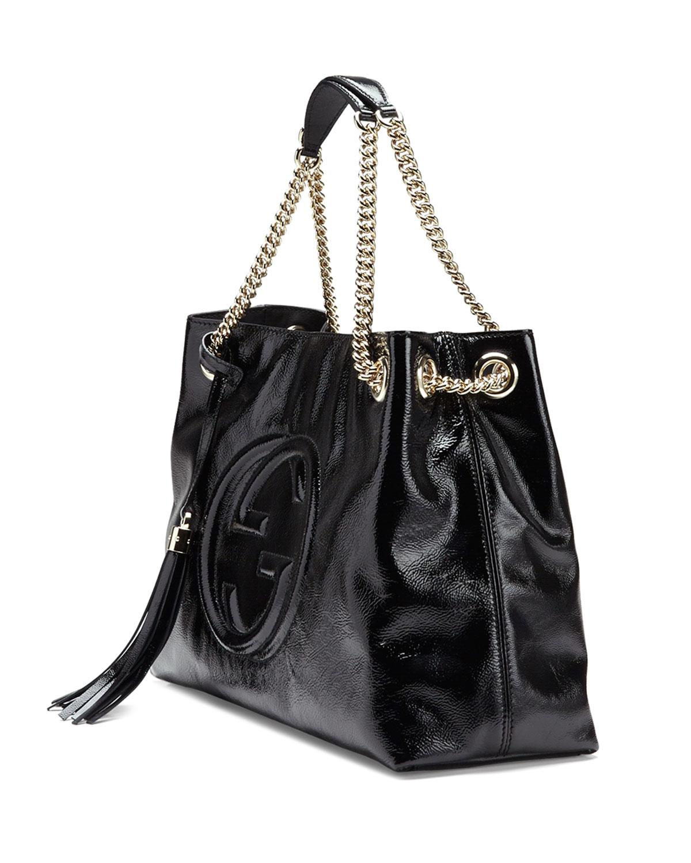 9502af624c8 Lyst Gucci Soho Soft Patent Leather Chain Shoulder Bag In Black ...