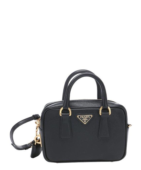 prada black clutch purse - Prada Black Saffiano Leather Mini Convertible Top Handle Bag in ...