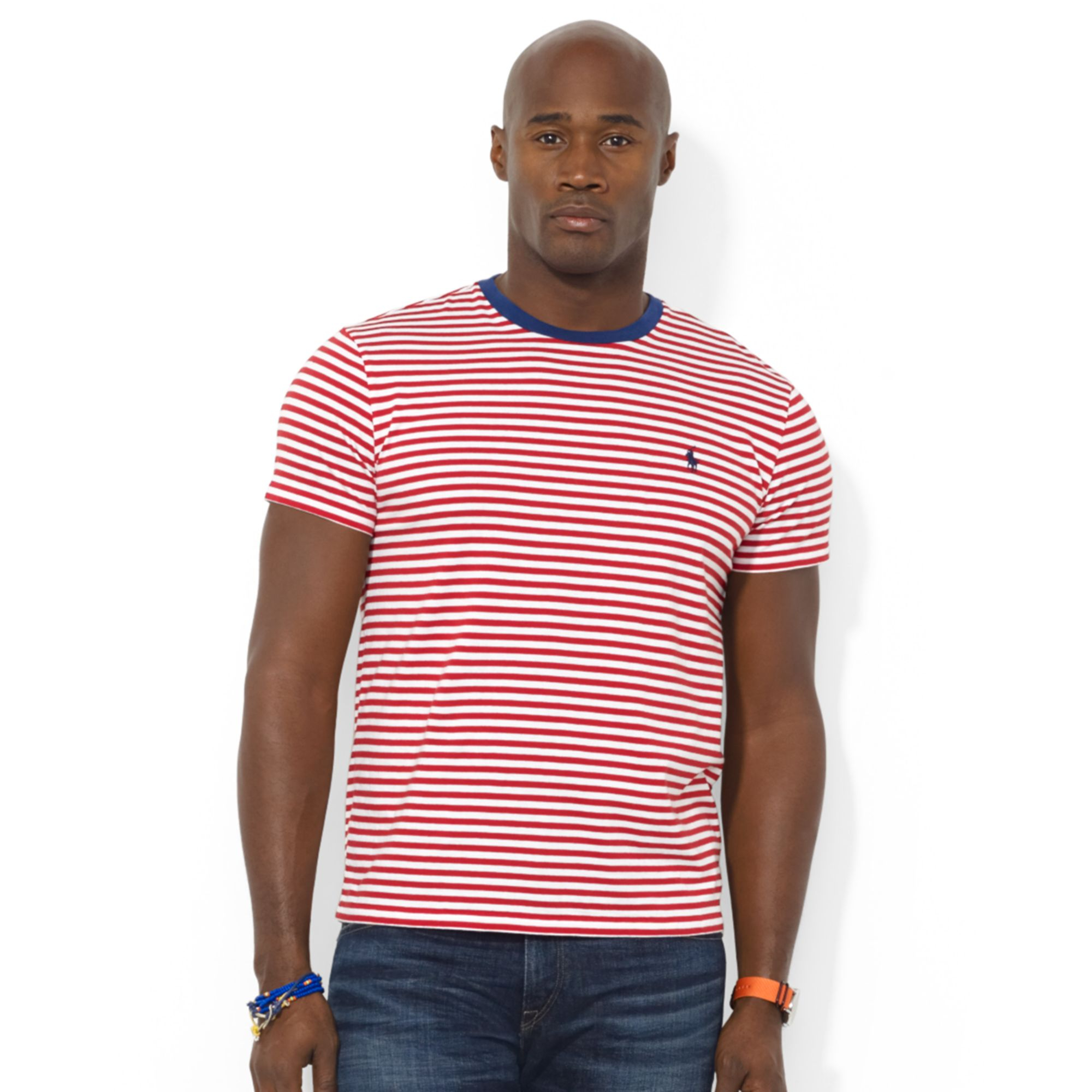 Ralph Lauren Polo Big And Tall Striped Tshirt In Red For