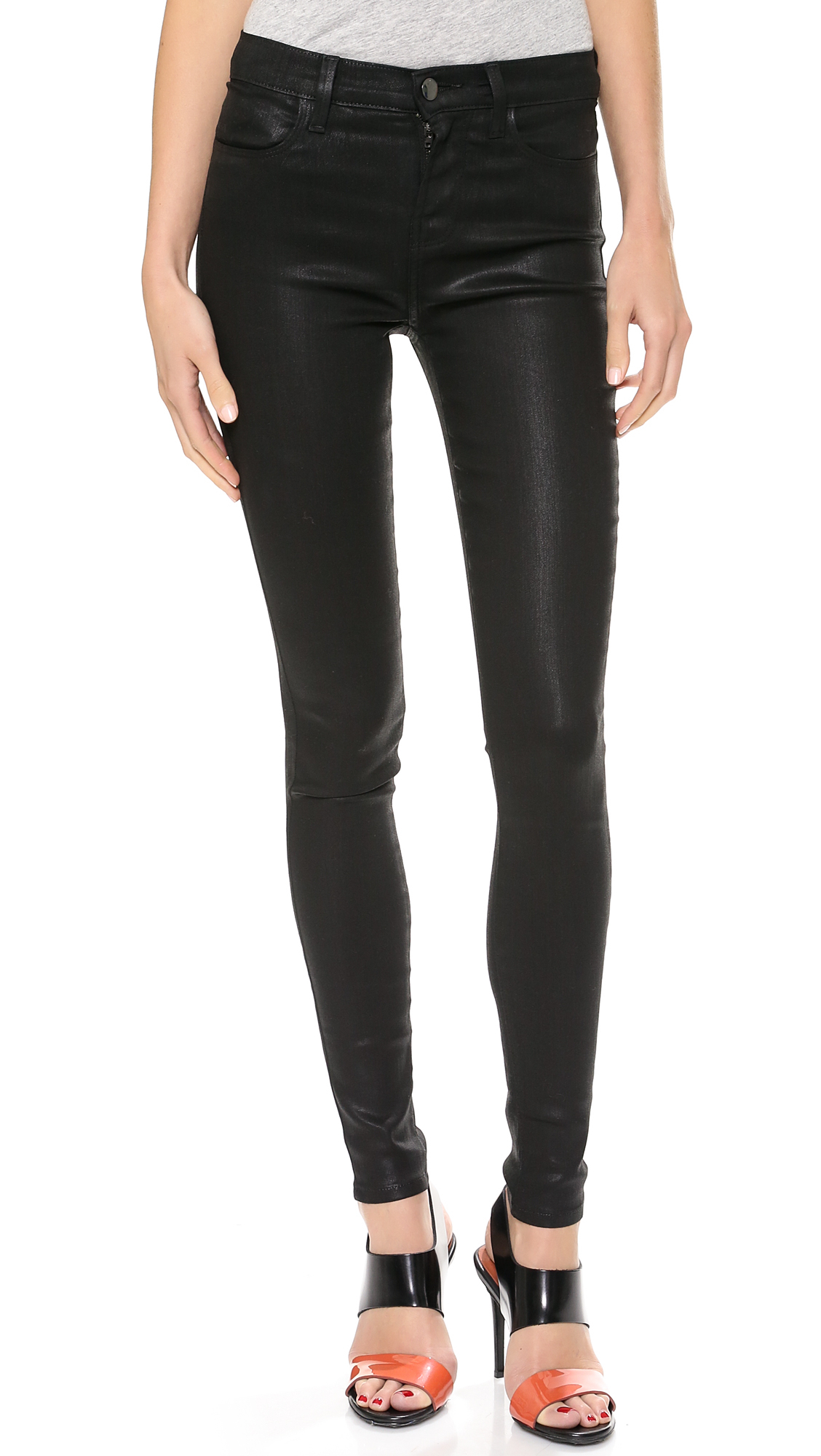 9cbffbe8eae5 J Brand 23110 High Rise Coated Jeans - Fearless in Black - Lyst