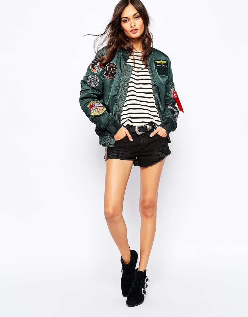 acabced5797 Lyst - Alpha Industries Ma1 Pilot Bomber Jacket With All Over Patch ...