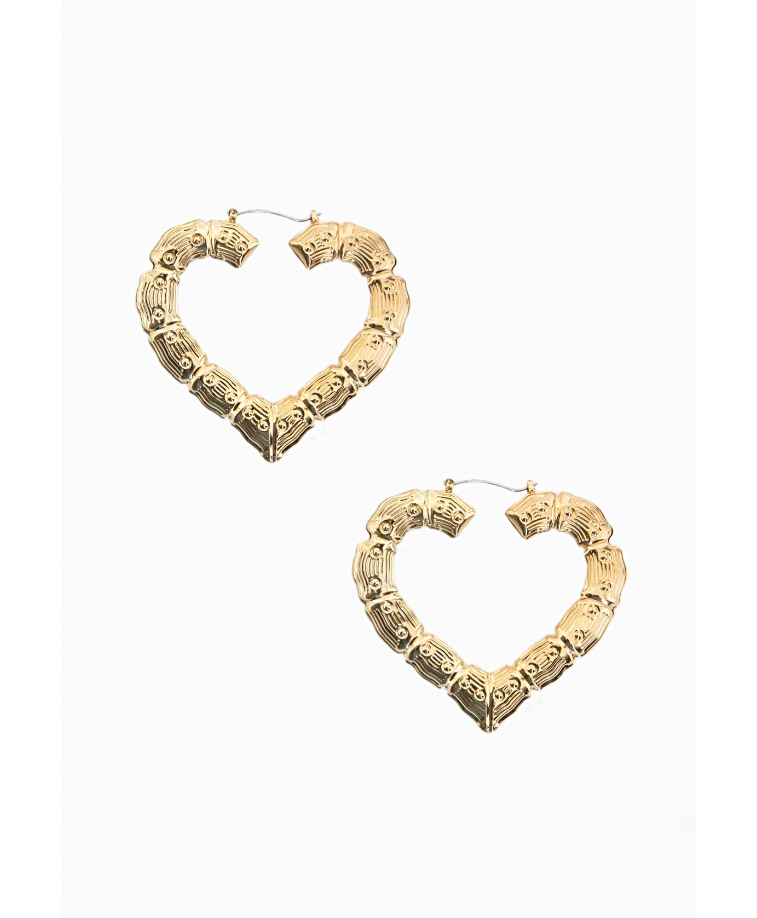 Lyst - Missguided Heart Shaped Bamboo Detail Hoops in Metallic