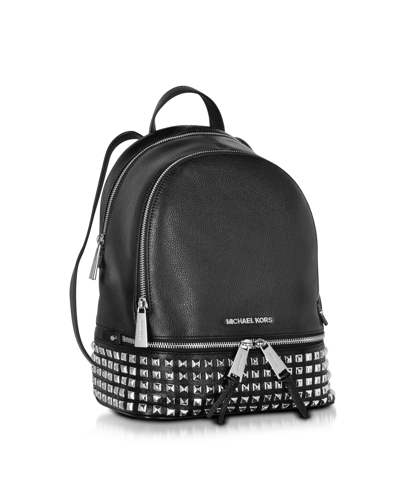 Michael kors Rhea Zip Small Studded Leather Backpack in Black | Lyst
