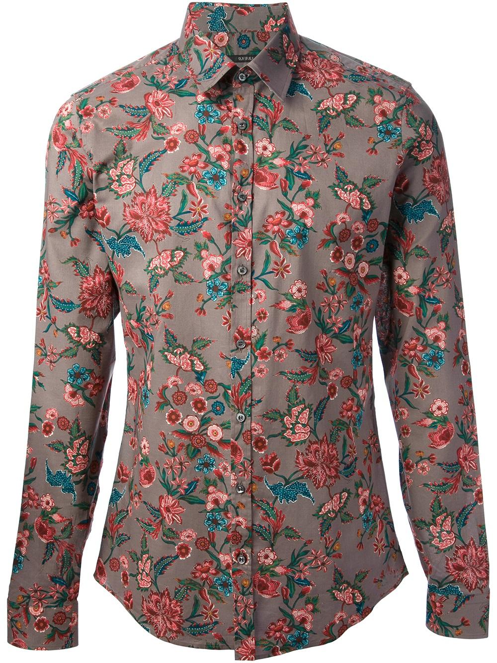 ff45b3bd230e Gucci Floral Print Shirt in Purple for Men - Lyst