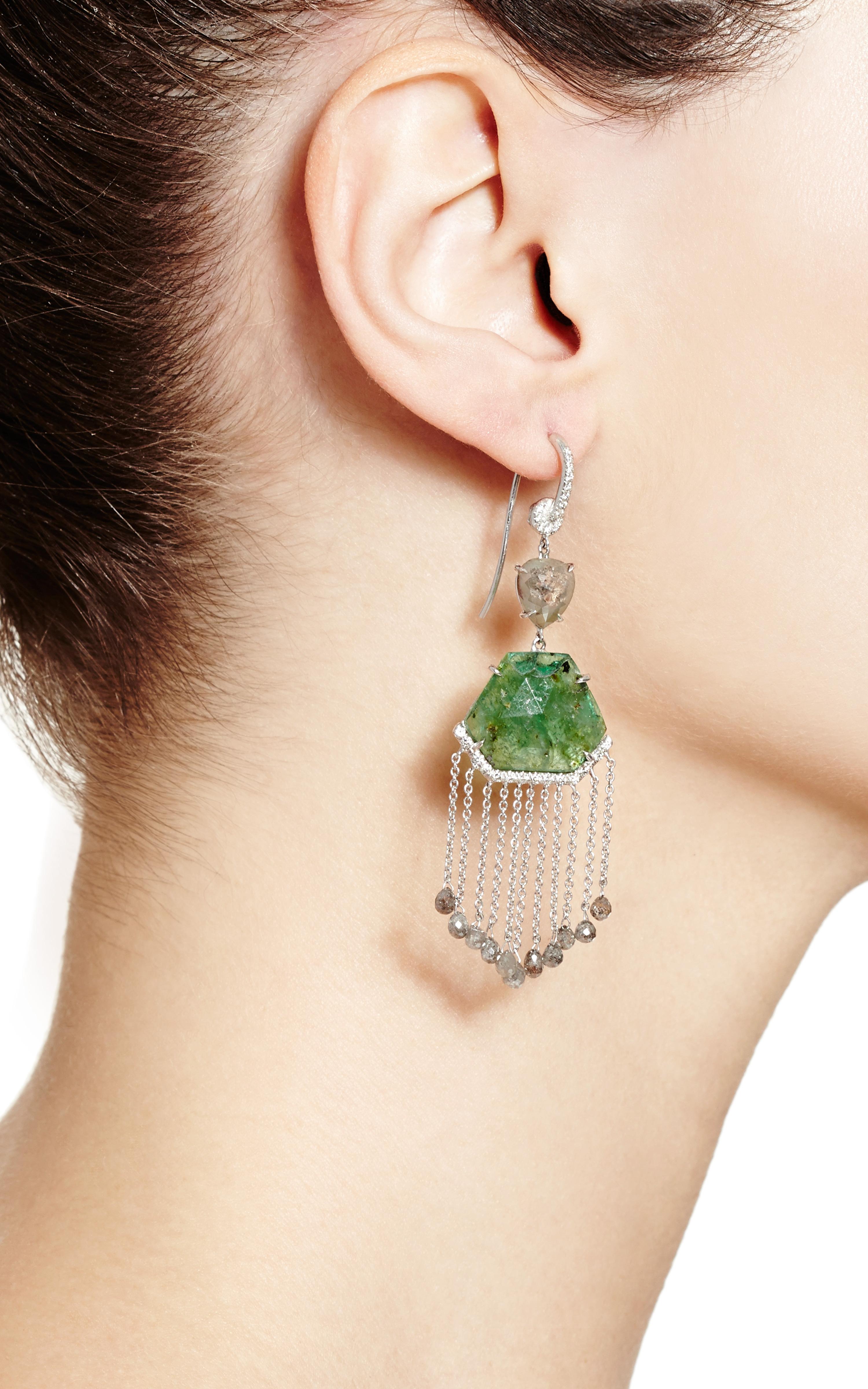 Lyst Nina Runsdorf 18k White Gold Slice Emerald And