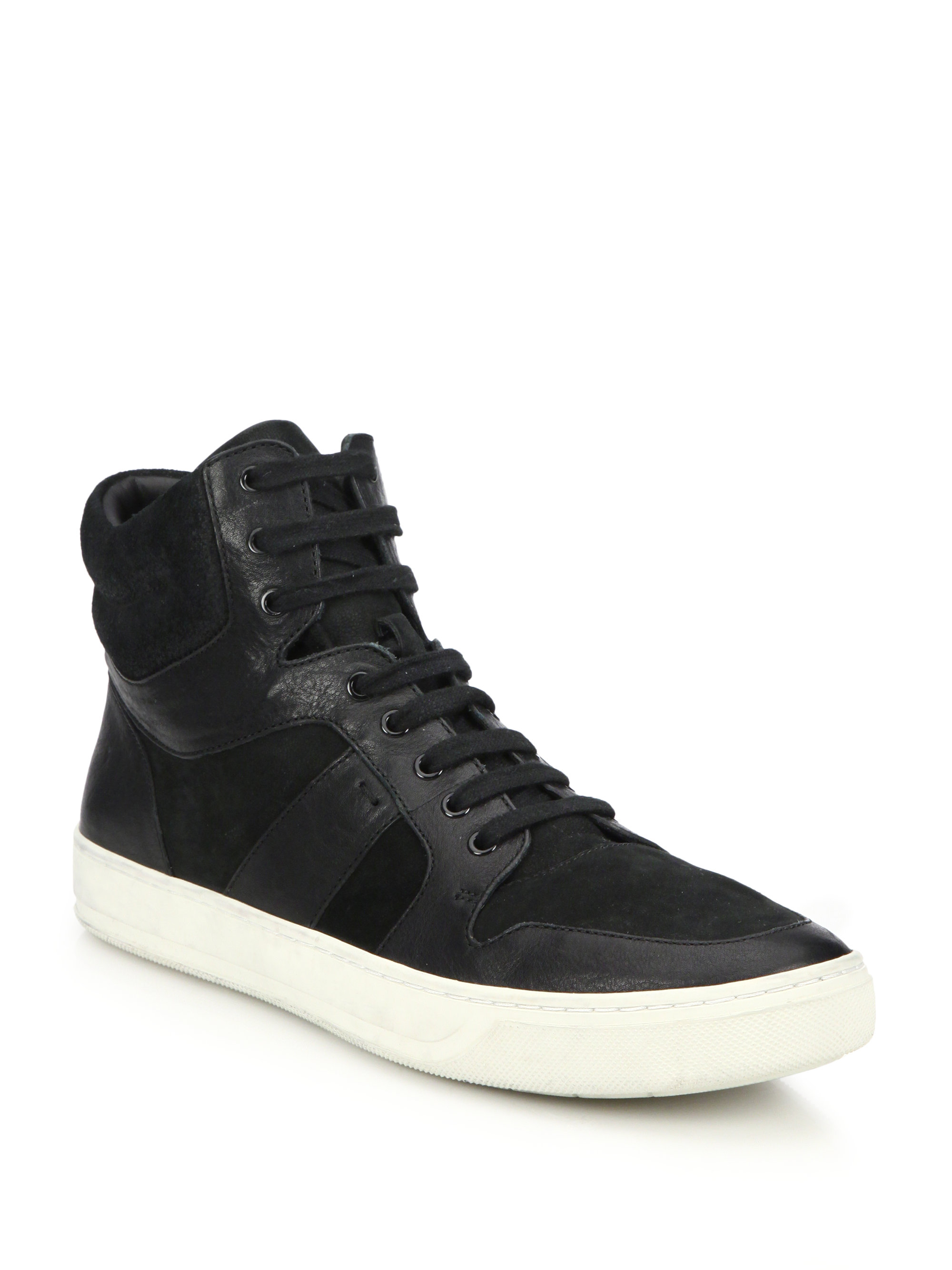 vince adam leather suede high top sneakers in black for
