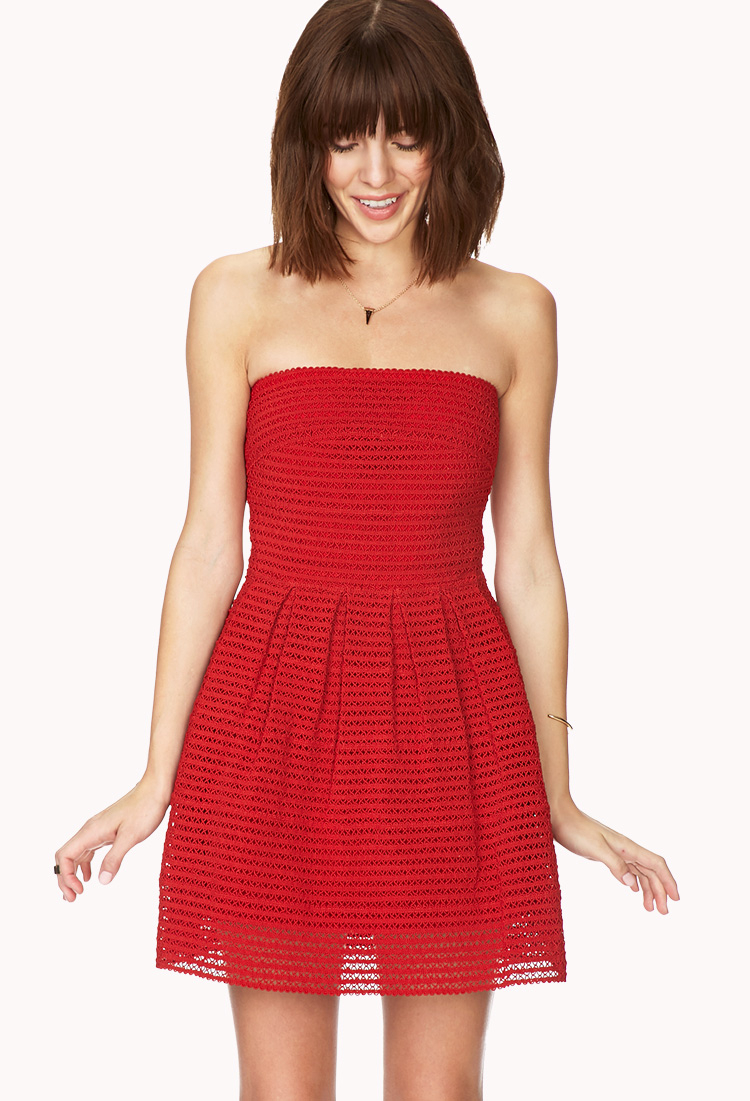 Lyst - Forever 21 Strapless Fit And Flare Crepe Dress in Red