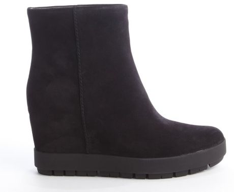 Prada Black Suede Wedge Heel Rubber Lug Sole Boots In