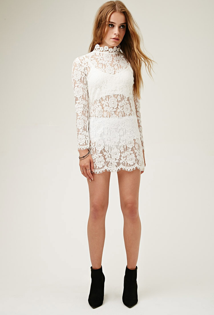 Forever 21 Lovecat Sheer Lace Dress in White | Lyst