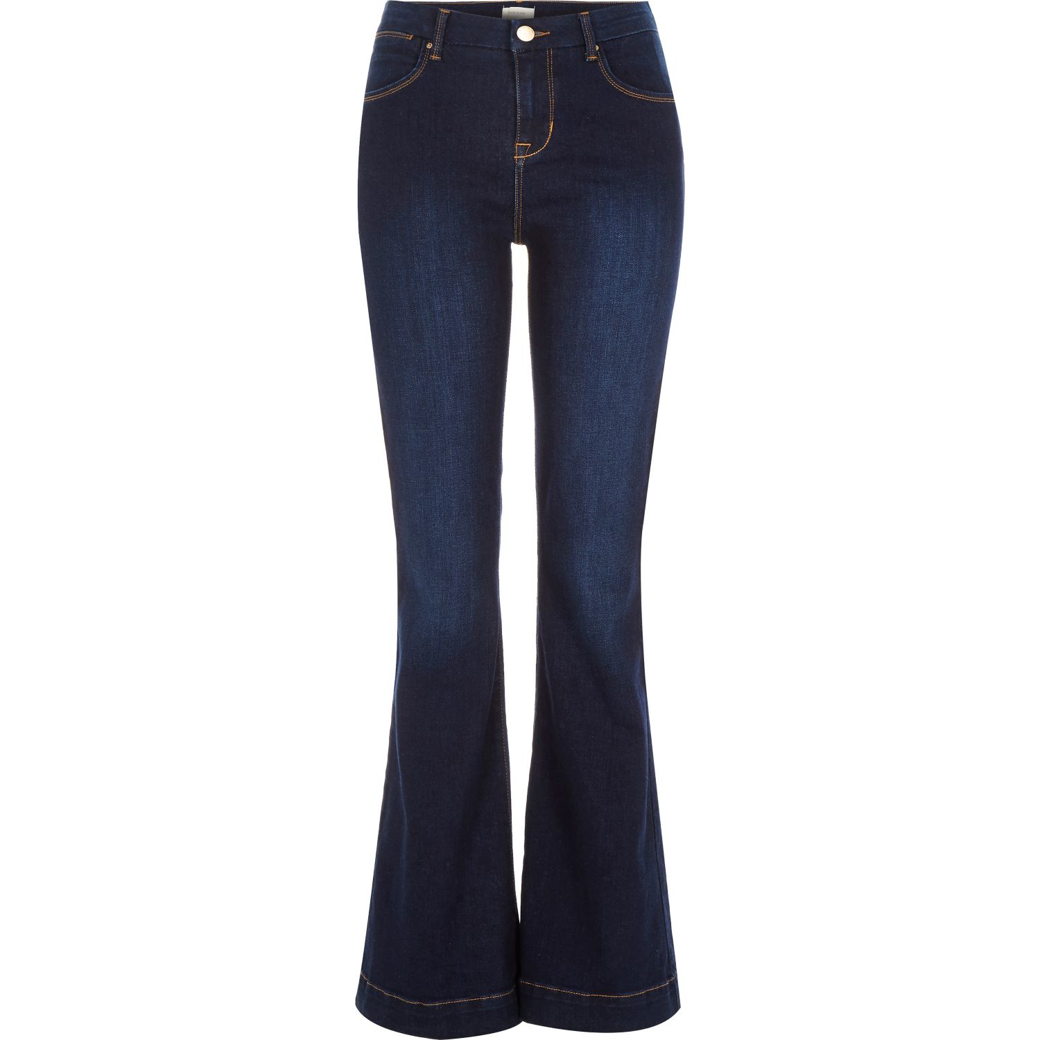 River island Dark Wash Suzie Flare Jeans in Blue | Lyst