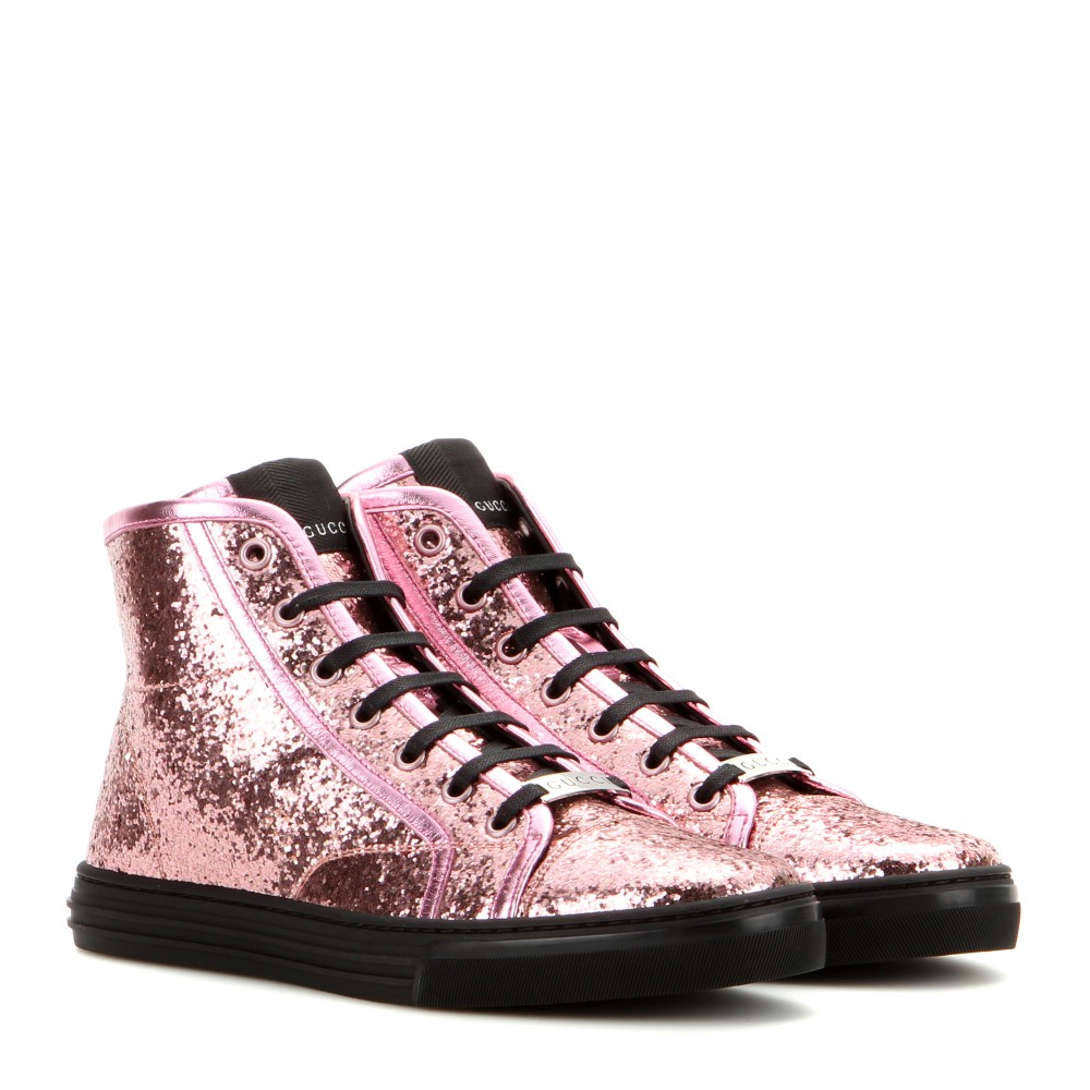 Lyst - Gucci California Glitter High-Top Sneakers in Pink 707305503