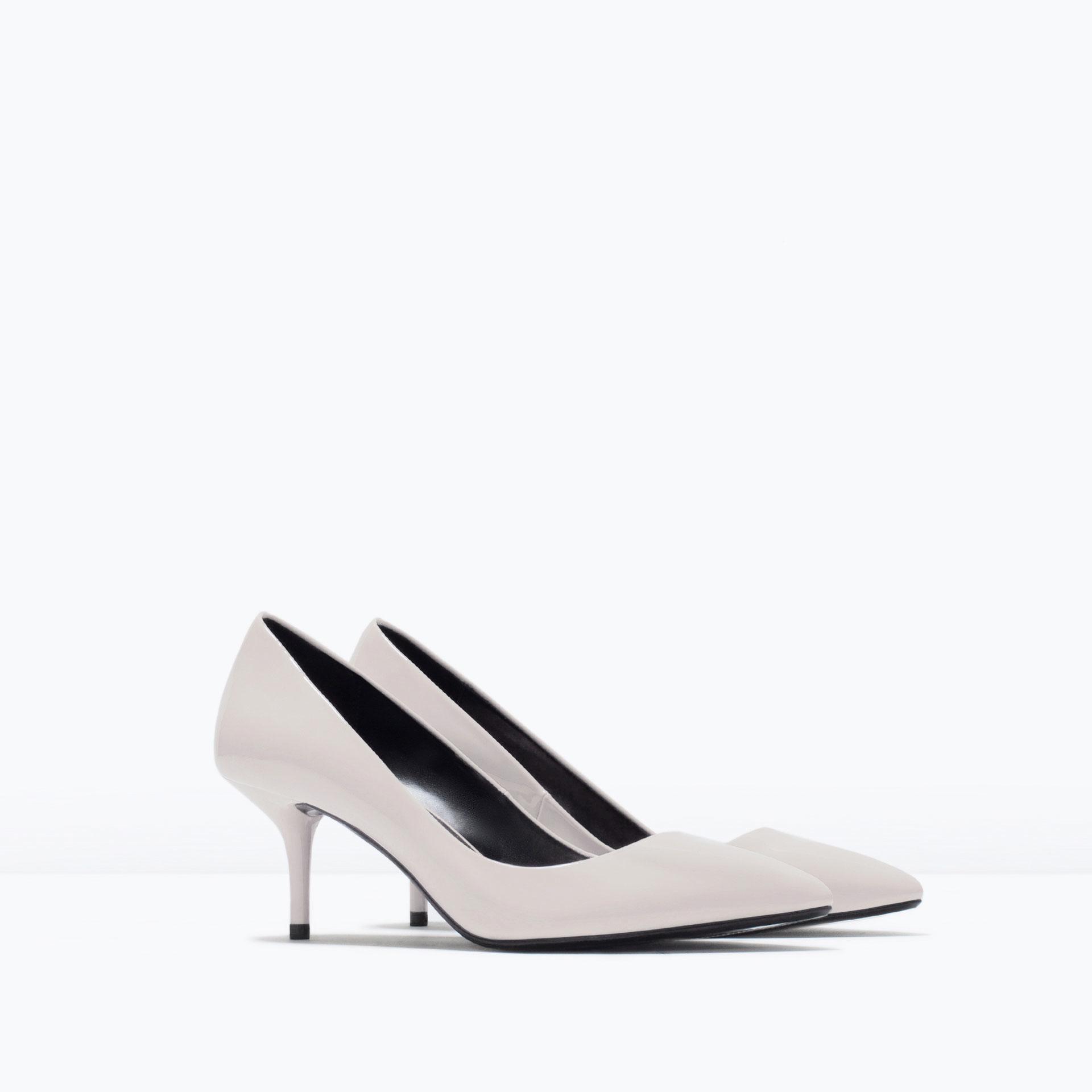 White Medium Heel Shoes Zara Mid Patent Court