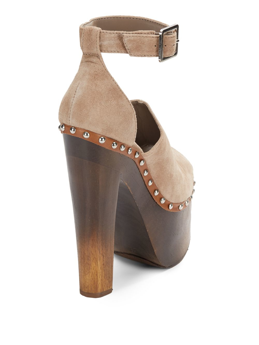 Schutz Kendra Suede Peep Toe Platform Sandals In Natural