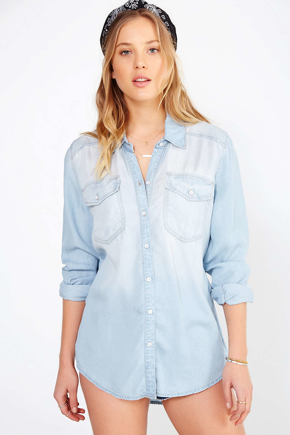 ba0da1adf BDG Drapey Chambray Button-down Shirt in Blue - Lyst