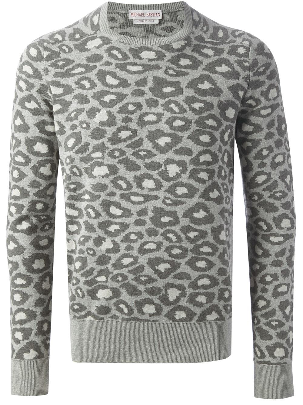 Michael bastian Leopard Print Sweater in Gray for Men   Lyst