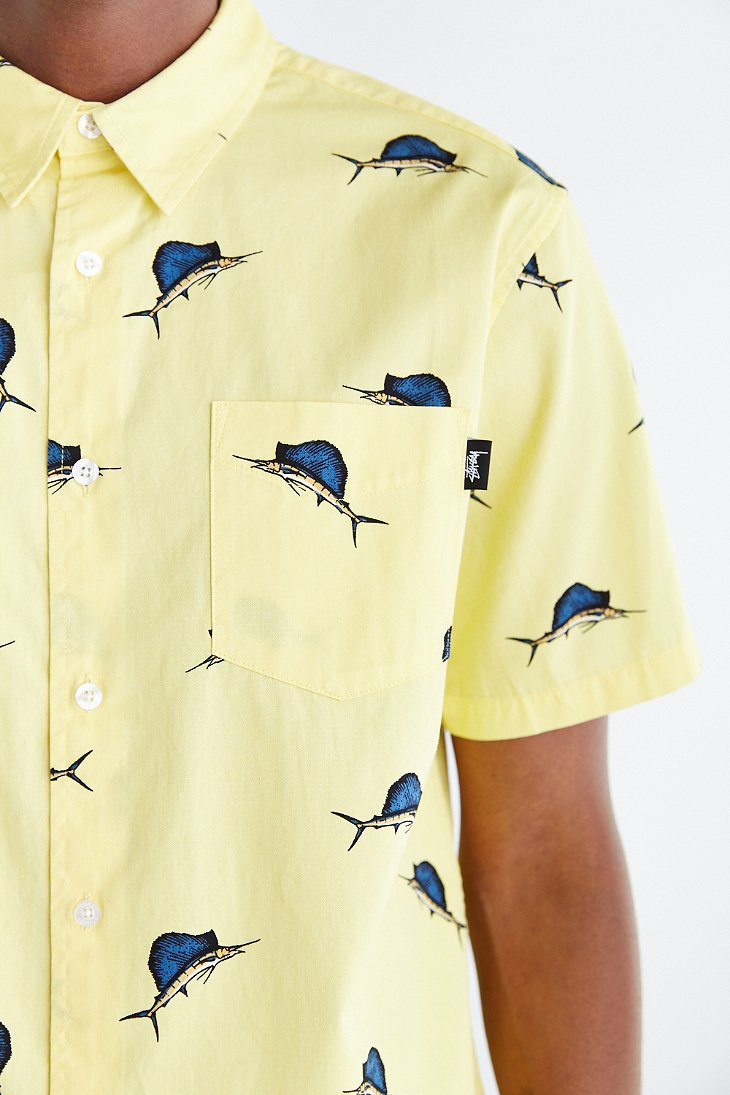 Stussy Big Catch Short-Sleeve Button-Down Shirt in Yellow for Men ...