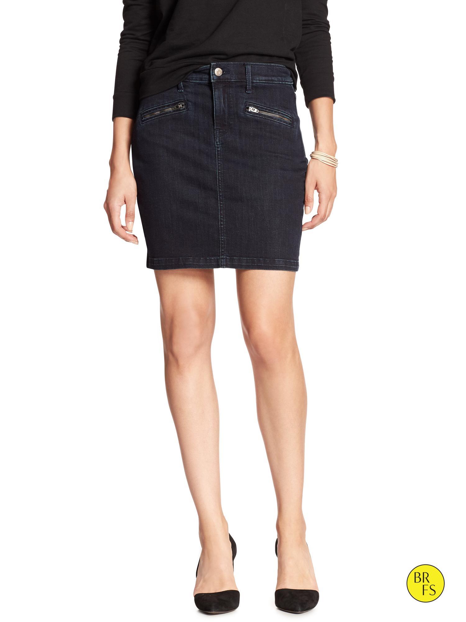 banana republic factory denim skirt in black wash