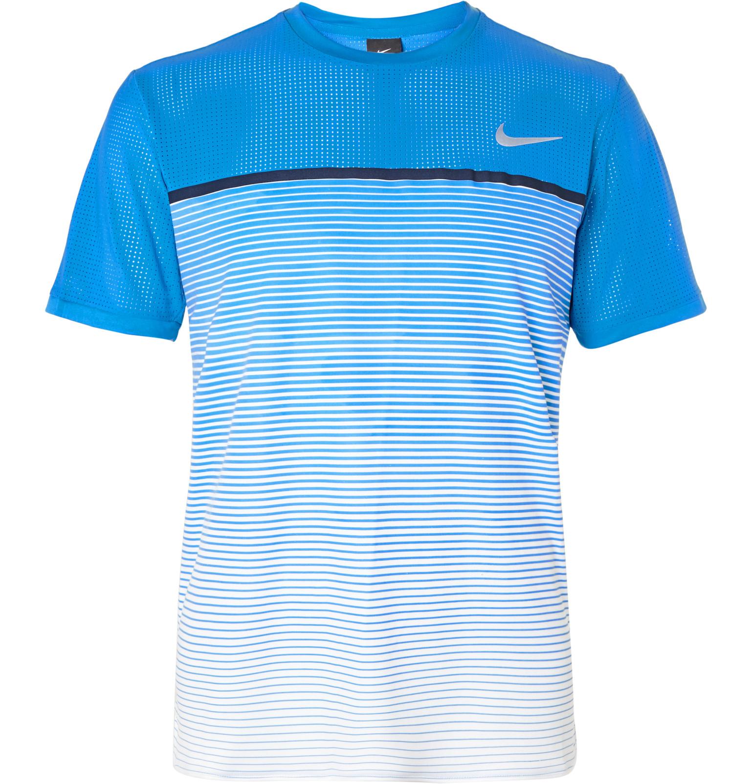 Lyst nike premier challenger dri fit t shirt in blue for men for Dri fit t shirt design