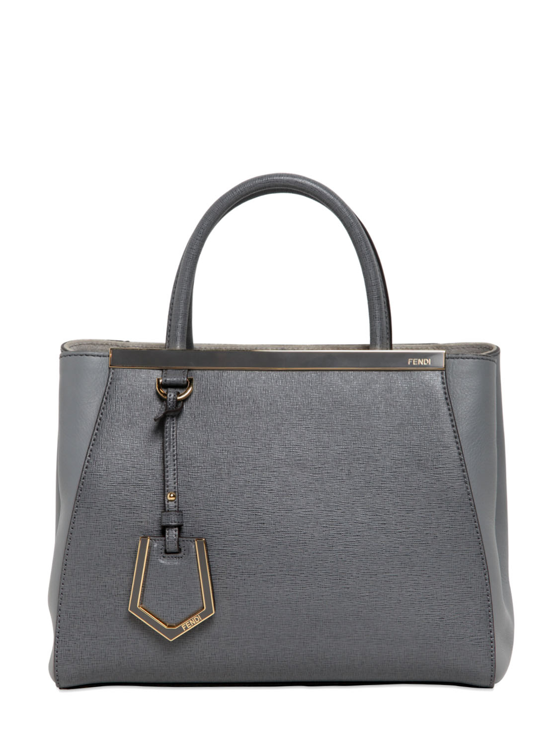 Lyst Fendi Mini 2jours Structured Leather Bag In Gray