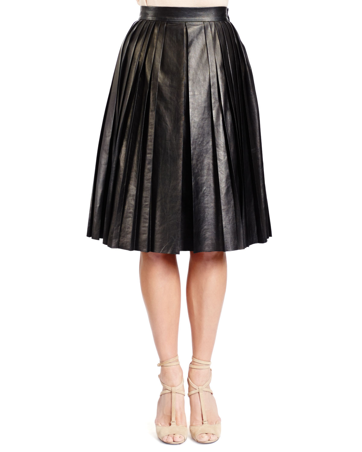 givenchy pleated lambskin leather skirt in black lyst