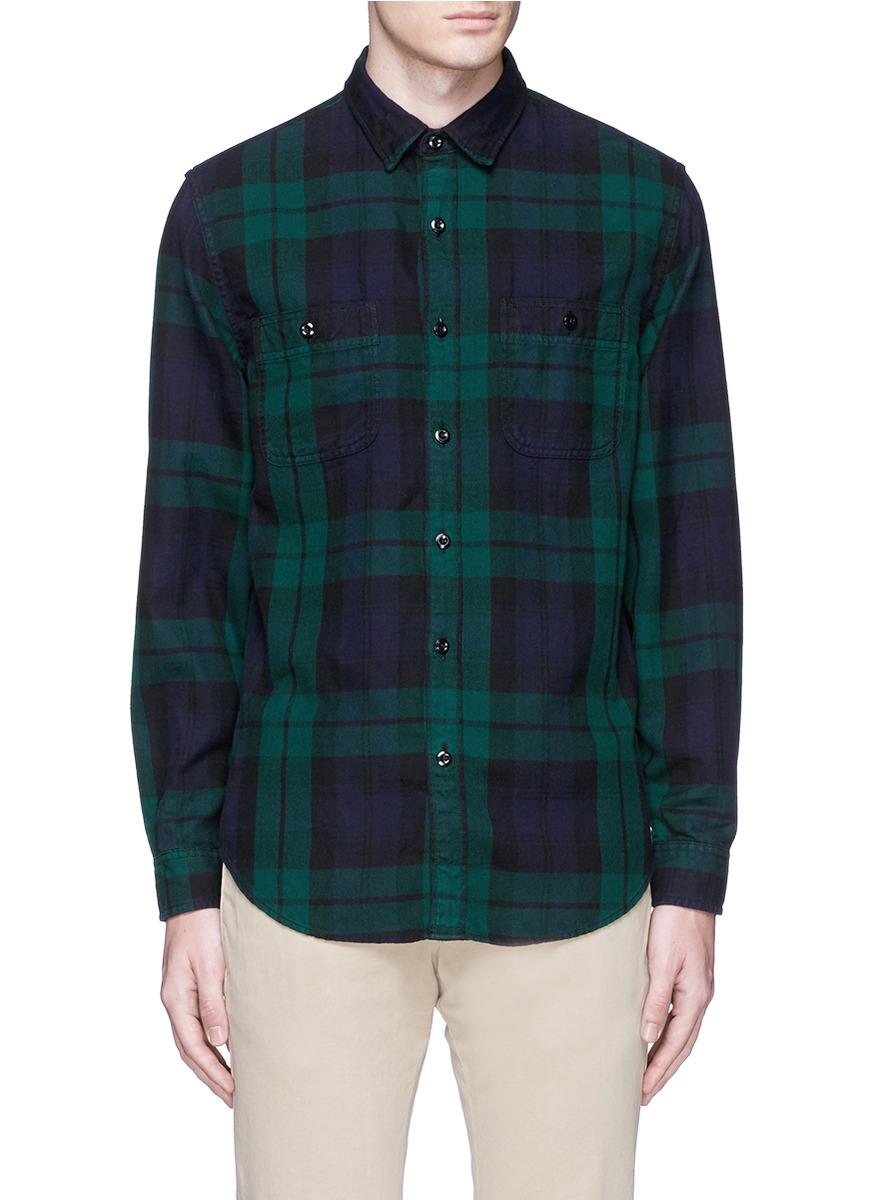 Herringbone flannel shirt in black watch plaid for for Black watch plaid flannel shirt