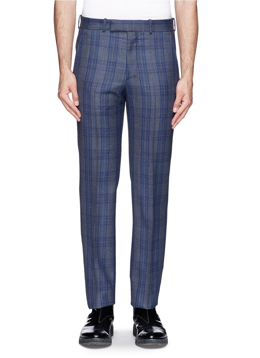 Alexander Mcqueen Glen Plaid Wool Pants In Blue For Men Lyst