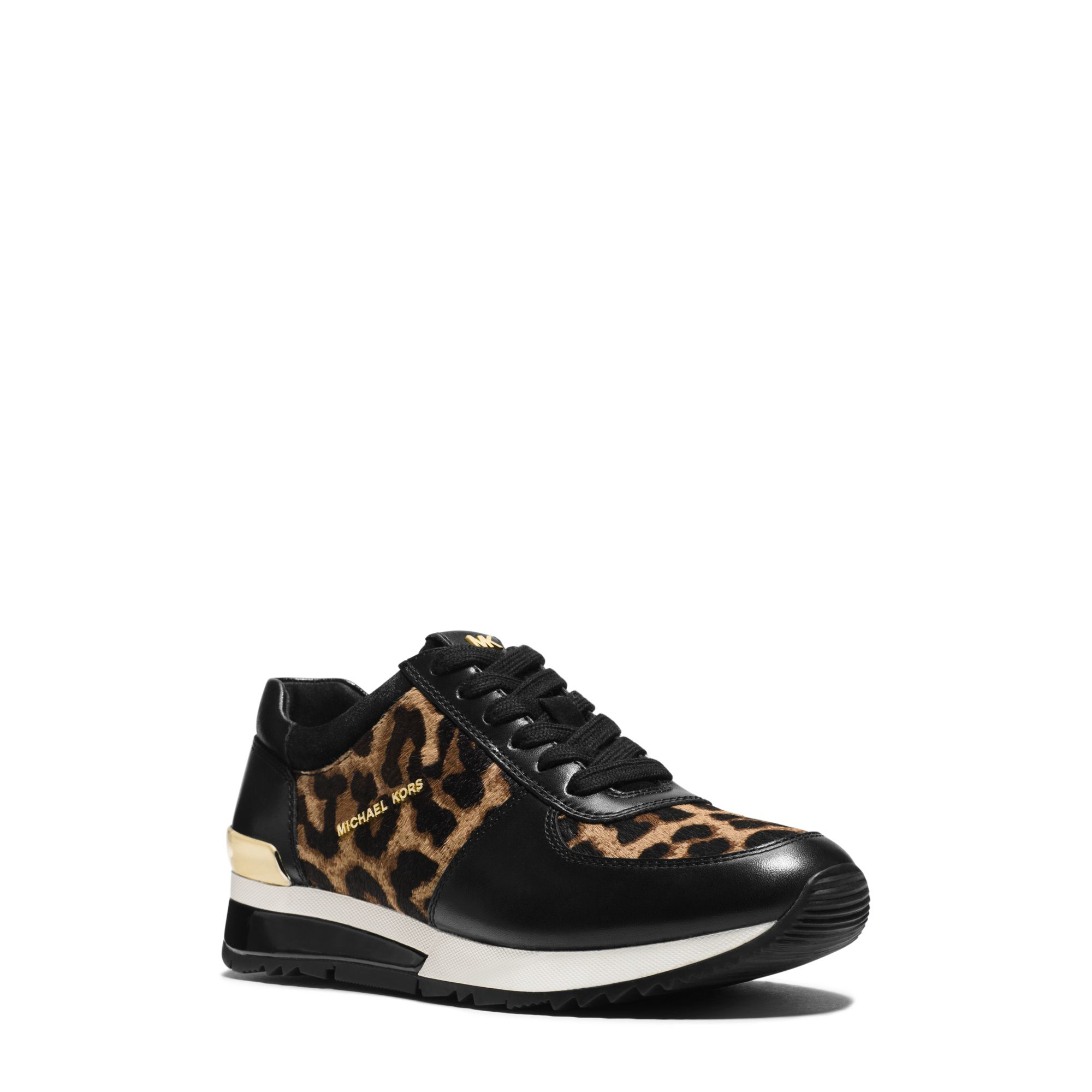 michael kors allie leopard calf hair and leather sneaker in natural lyst. Black Bedroom Furniture Sets. Home Design Ideas