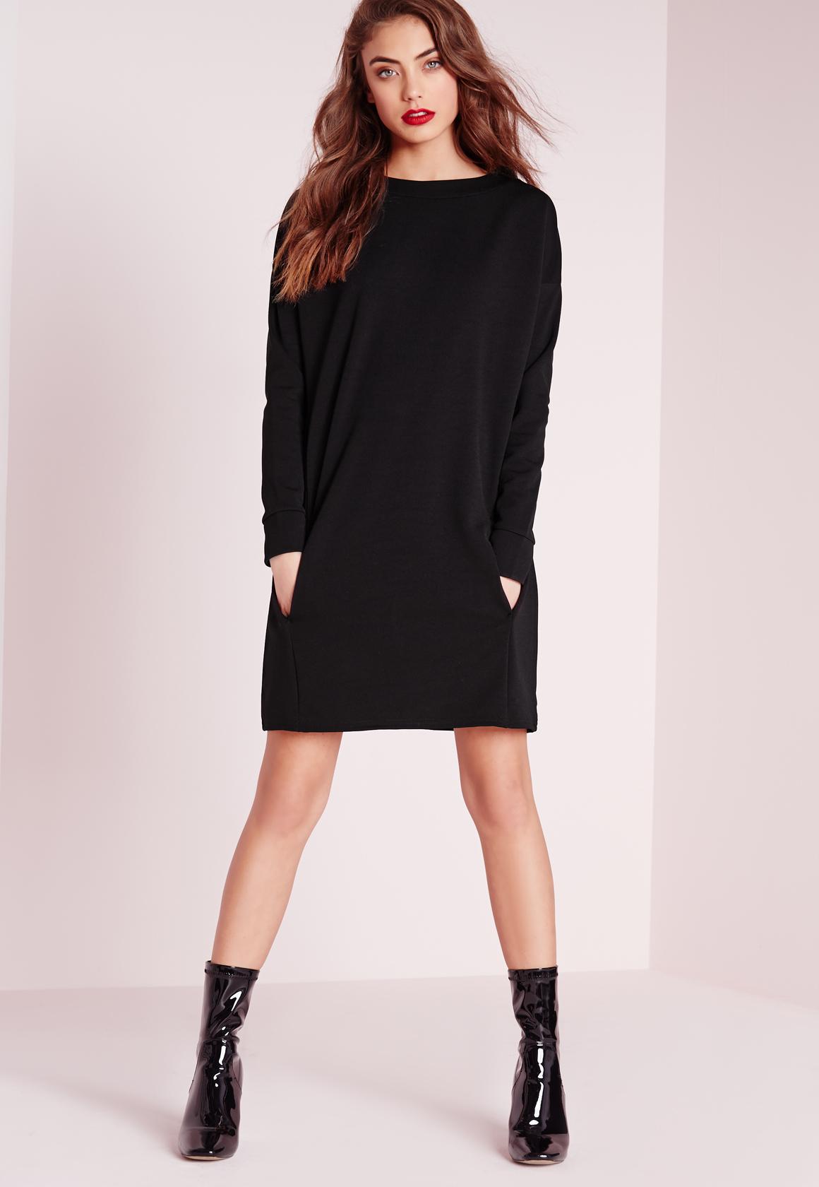 Missguided Pocket Front Jumper Dress Black In Black | Lyst