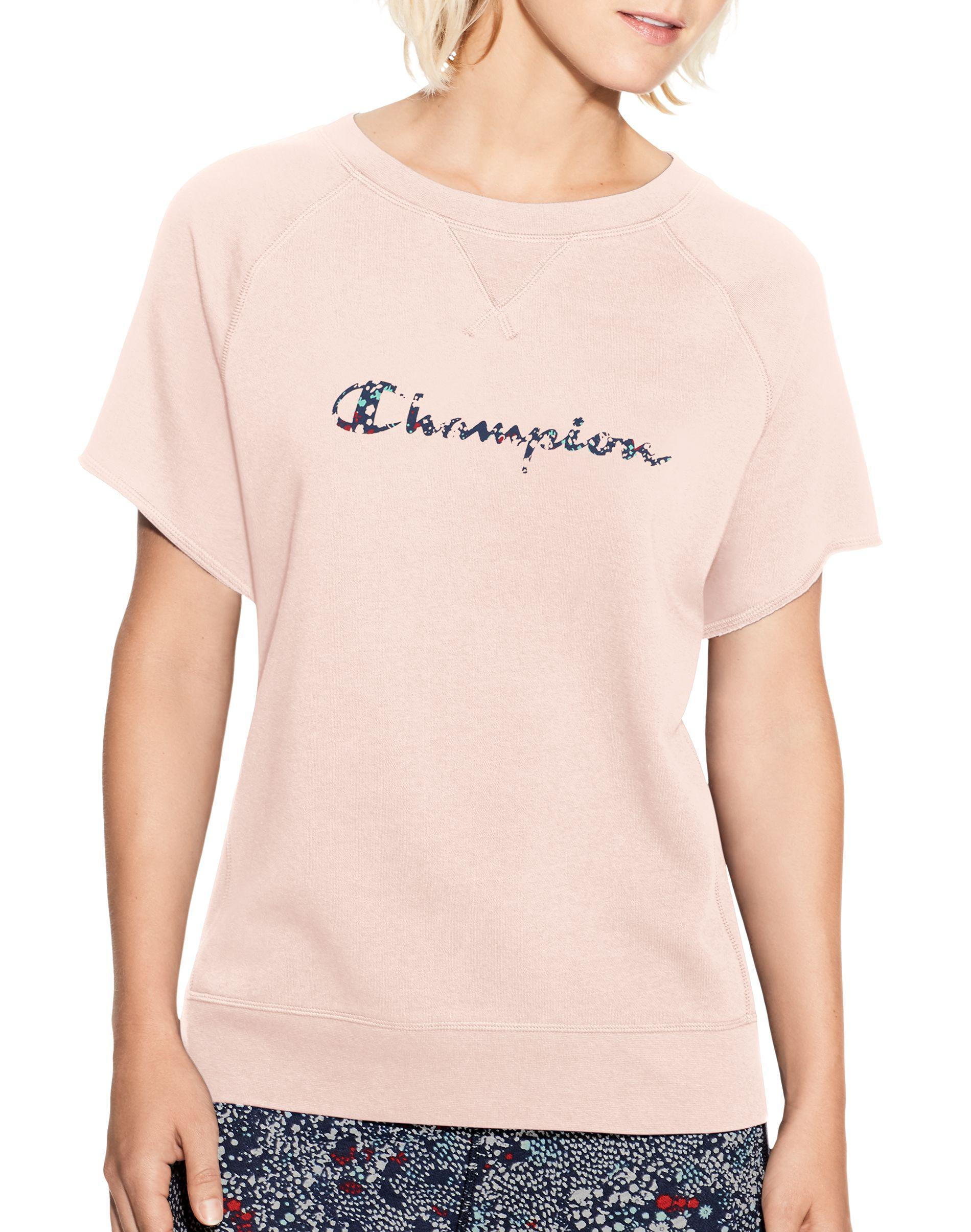 801fd89762e Champion Heritage French Terry Short-sleeve Crew, Floral Script Logo ...