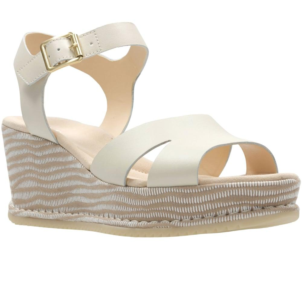 f48dc7256087 Lyst - Clarks Akilah Eden Womens Wedge Sandals in White