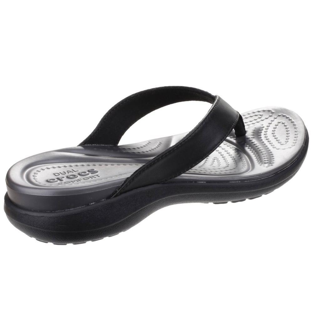 c91627186 Crocs™ - Black Capri V Flip Womens Toe Post Sandals - Lyst. View fullscreen
