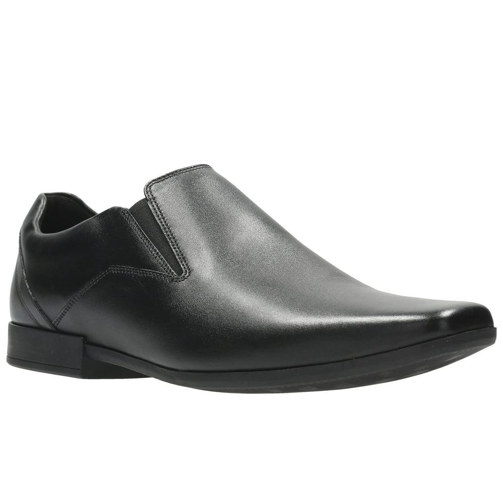 Clarks. Black Glement Slip Mens Formal Slip On Shoes