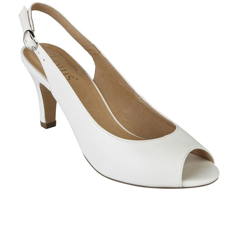 30bfd0c1f2b0 Lotus Sommer Womens Peep Toe Sling Back Shoes in White - Lyst