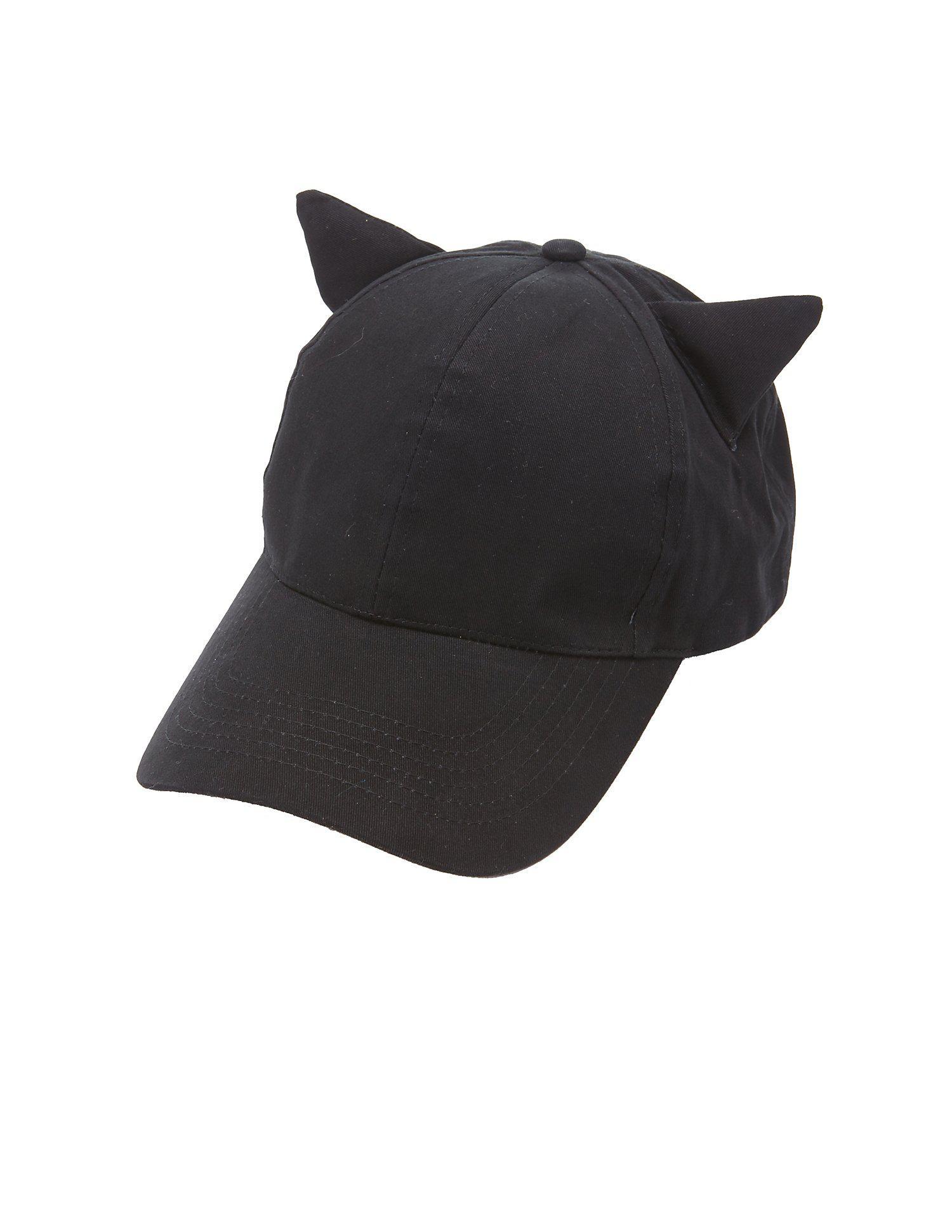 584a9944d4f1de Lyst - Charlotte Russe Cat Ear Baseball Hat in Black