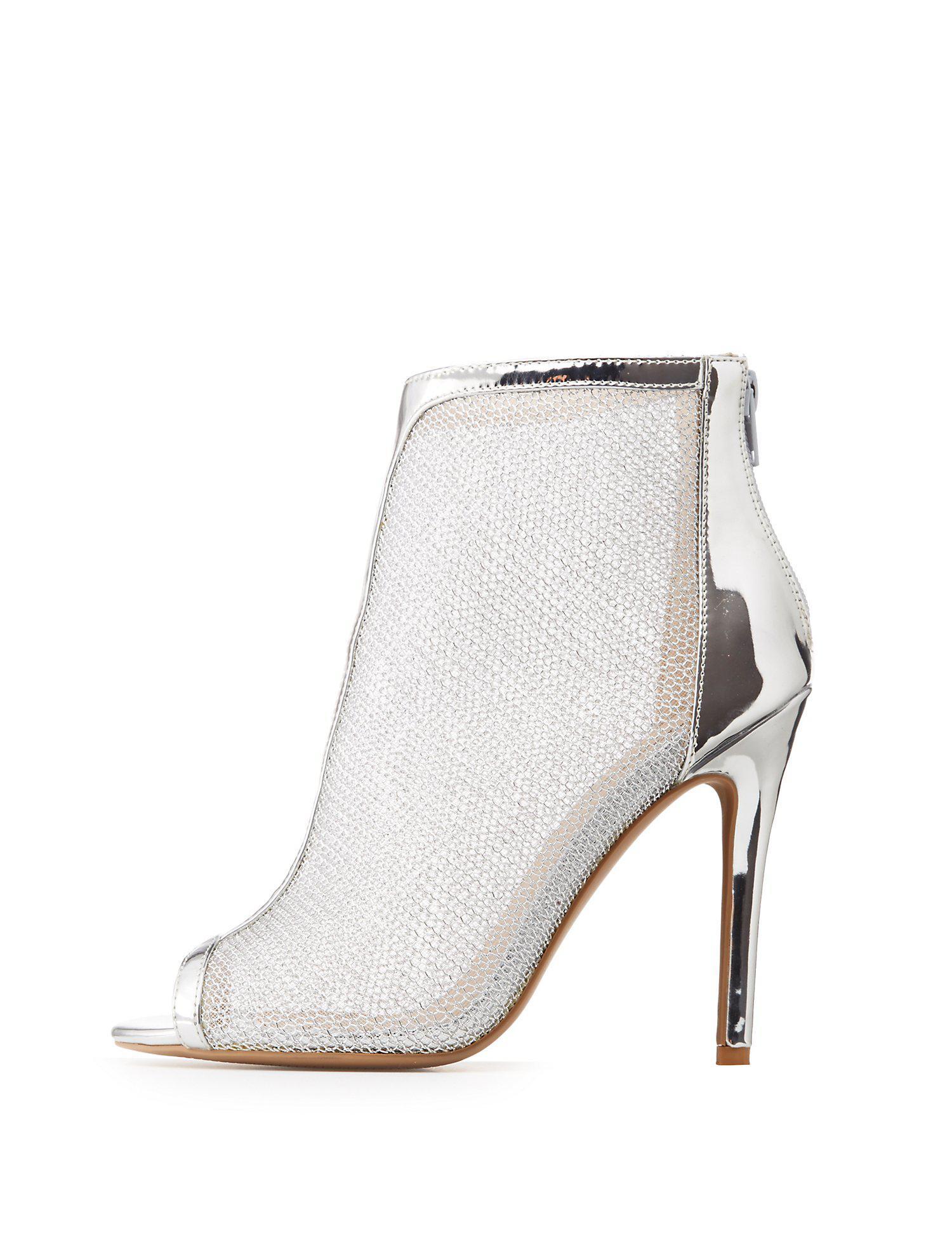 9657409634a7 Lyst - Charlotte Russe Qupid Metallic Mesh Peep Toe Booties in Metallic